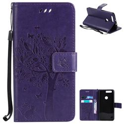 Embossing Butterfly Tree Leather Wallet Case for Huawei Honor 8 - Purple