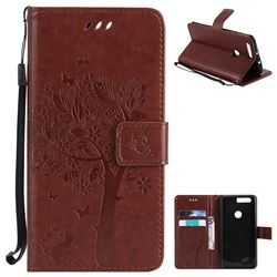 Embossing Butterfly Tree Leather Wallet Case for Huawei Honor 8 - Brown