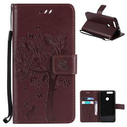 Embossing Butterfly Tree Leather Wallet Case for Huawei Honor 8 - Coffee