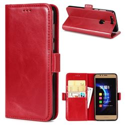 Luxury Crazy Horse PU Leather Wallet Case for Huawei Honor 8 - Red
