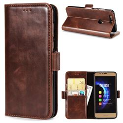 Luxury Crazy Horse PU Leather Wallet Case for Huawei Honor 8 - Coffee