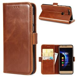 Luxury Crazy Horse PU Leather Wallet Case for Huawei Honor 8 - Brown