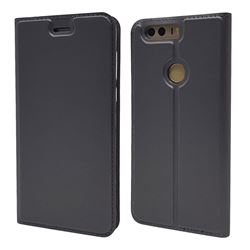 Ultra Slim Card Magnetic Automatic Suction Leather Wallet Case for Huawei Honor 8 - Star Grey