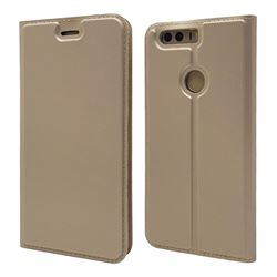Ultra Slim Card Magnetic Automatic Suction Leather Wallet Case for Huawei Honor 8 - Champagne