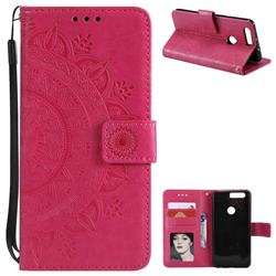 Intricate Embossing Datura Leather Wallet Case for Huawei Honor 8 - Rose Red