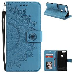 Intricate Embossing Datura Leather Wallet Case for Huawei Honor 8 - Blue
