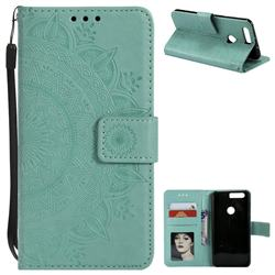 Intricate Embossing Datura Leather Wallet Case for Huawei Honor 8 - Mint Green