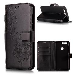 Intricate Embossing Dandelion Butterfly Leather Wallet Case for Huawei Honor 8 - Black
