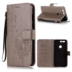 Intricate Embossing Dandelion Butterfly Leather Wallet Case for Huawei Honor 8 - Gray
