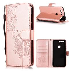 Intricate Embossing Dandelion Butterfly Leather Wallet Case for Huawei Honor 8 - Rose Gold