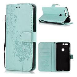 Intricate Embossing Dandelion Butterfly Leather Wallet Case for Huawei Honor 8 - Green