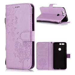 Intricate Embossing Dandelion Butterfly Leather Wallet Case for Huawei Honor 8 - Purple