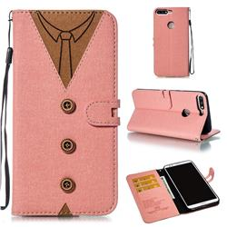 Mens Button Clothing Style Leather Wallet Phone Case for Huawei Honor 8 - Pink