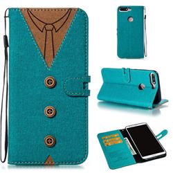 Mens Button Clothing Style Leather Wallet Phone Case for Huawei Honor 8 - Green