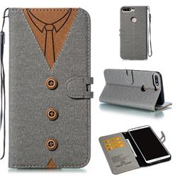 Mens Button Clothing Style Leather Wallet Phone Case for Huawei Honor 8 - Gray