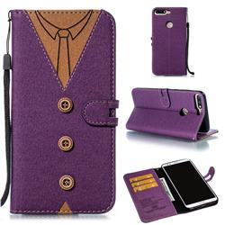 Mens Button Clothing Style Leather Wallet Phone Case for Huawei Honor 8 - Purple