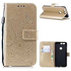 Intricate Embossing Butterfly Circle Leather Wallet Case for Huawei Honor 8 - Champagne