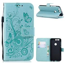 Intricate Embossing Butterfly Circle Leather Wallet Case for Huawei Honor 8 - Cyan