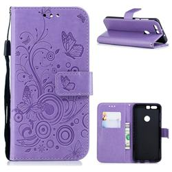 Intricate Embossing Butterfly Circle Leather Wallet Case for Huawei Honor 8 - Purple