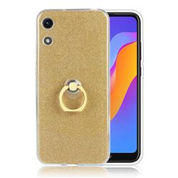 Luxury Soft TPU Glitter Back Ring Cover with 360 Rotate Finger Holder Buckle for Huawei Honor 8A - Golden