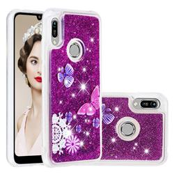 Purple Flower Butterfly Dynamic Liquid Glitter Quicksand Soft TPU Case for Huawei Honor 8A