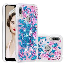 Blue Plum Blossom Dynamic Liquid Glitter Quicksand Soft TPU Case for Huawei Honor 8A