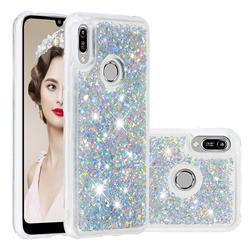 Dynamic Liquid Glitter Quicksand Sequins TPU Phone Case for Huawei Honor 8A - Silver