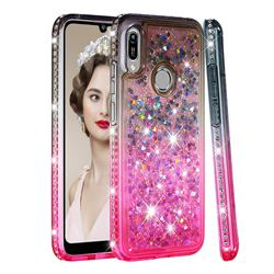 Diamond Frame Liquid Glitter Quicksand Sequins Phone Case for Huawei Honor 8A - Gray Pink