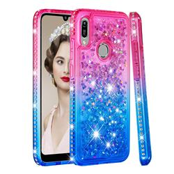 Diamond Frame Liquid Glitter Quicksand Sequins Phone Case for Huawei Honor 8A - Pink Blue