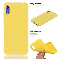 Soft Matte Silicone Phone Cover for Huawei Honor 8A - Yellow