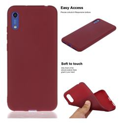 Soft Matte Silicone Phone Cover for Huawei Honor 8A - Wine Red