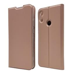 Ultra Slim Card Magnetic Automatic Suction Leather Wallet Case for Huawei Honor 8A - Rose Gold