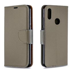 Classic Luxury Litchi Leather Phone Wallet Case for Huawei Honor 8A - Gray