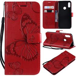 Embossing 3D Butterfly Leather Wallet Case for Huawei Honor 8A - Red