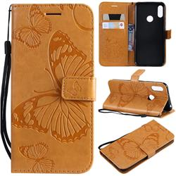 Embossing 3D Butterfly Leather Wallet Case for Huawei Honor 8A - Yellow