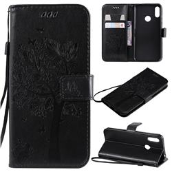 Embossing Butterfly Tree Leather Wallet Case for Huawei Honor 8A - Black