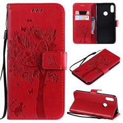 Embossing Butterfly Tree Leather Wallet Case for Huawei Honor 8A - Red