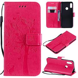 Embossing Butterfly Tree Leather Wallet Case for Huawei Honor 8A - Rose