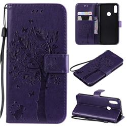Embossing Butterfly Tree Leather Wallet Case for Huawei Honor 8A - Purple