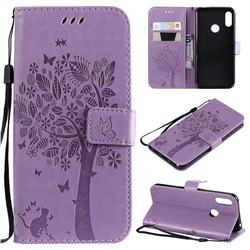 Embossing Butterfly Tree Leather Wallet Case for Huawei Honor 8A - Violet
