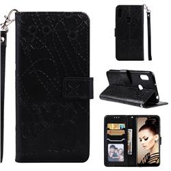 Embossing Fireworks Elephant Leather Wallet Case for Huawei Honor 8A - Black