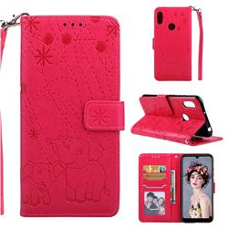 Embossing Fireworks Elephant Leather Wallet Case for Huawei Honor 8A - Red