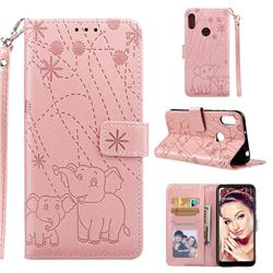 Embossing Fireworks Elephant Leather Wallet Case for Huawei Honor 8A - Rose Gold