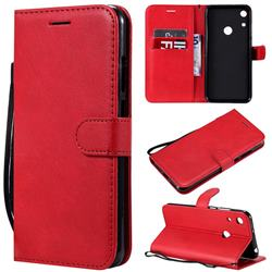 Retro Greek Classic Smooth PU Leather Wallet Phone Case for Huawei Honor 8A - Red