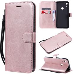 Retro Greek Classic Smooth PU Leather Wallet Phone Case for Huawei Honor 8A - Rose Gold