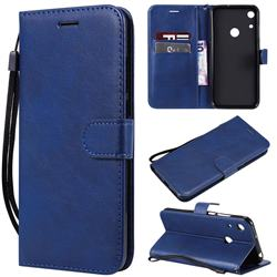 Retro Greek Classic Smooth PU Leather Wallet Phone Case for Huawei Honor 8A - Blue