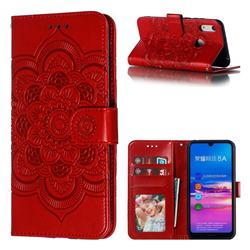 Intricate Embossing Datura Solar Leather Wallet Case for Huawei Honor 8A - Red