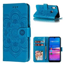 Intricate Embossing Datura Solar Leather Wallet Case for Huawei Honor 8A - Blue
