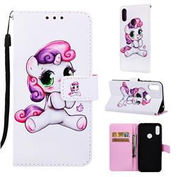 Playful Pony Matte Leather Wallet Phone Case for Huawei Honor 8A