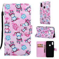 Unicorn and Flowers Matte Leather Wallet Phone Case for Huawei Honor 8A
